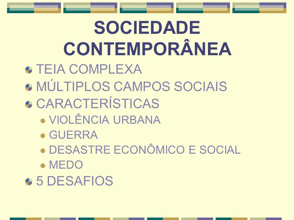 SOCIEDADE CONTEMPORÂNEA TEIA COMPLEXA MÚLTIPLOS CAMPOS SOCIAIS CARACTERÍSTICAS VIOLÊNCIA URBANA GUERRA DESASTRE ECONÔMICO E SOCIAL MEDO 5 DESAFIOS