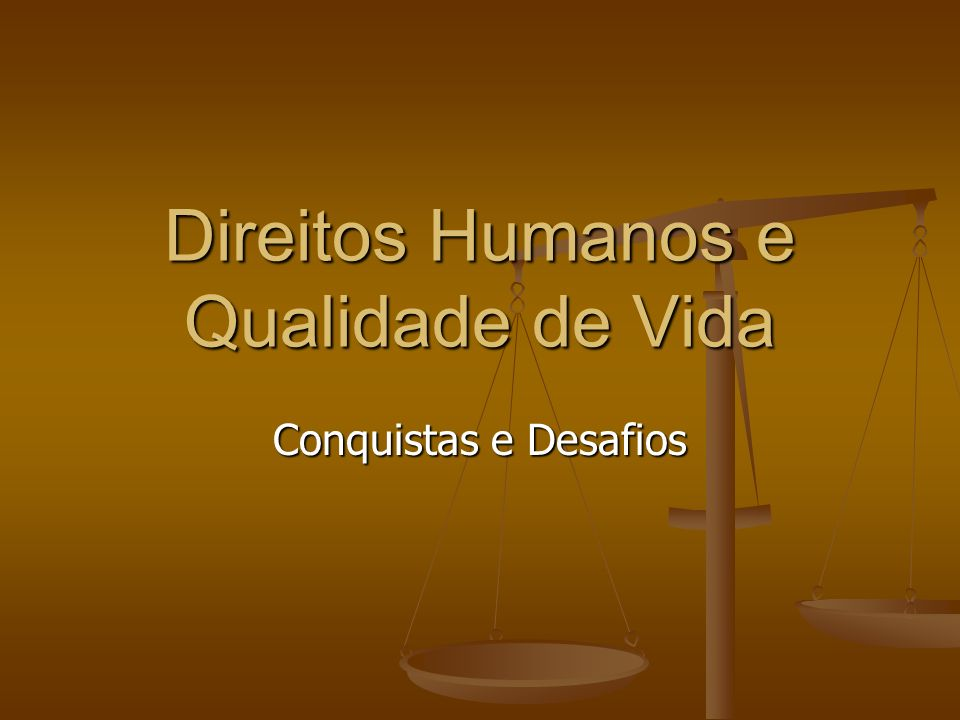 Direitos Humanos e Qualidade de Vida Conquistas e Desafios