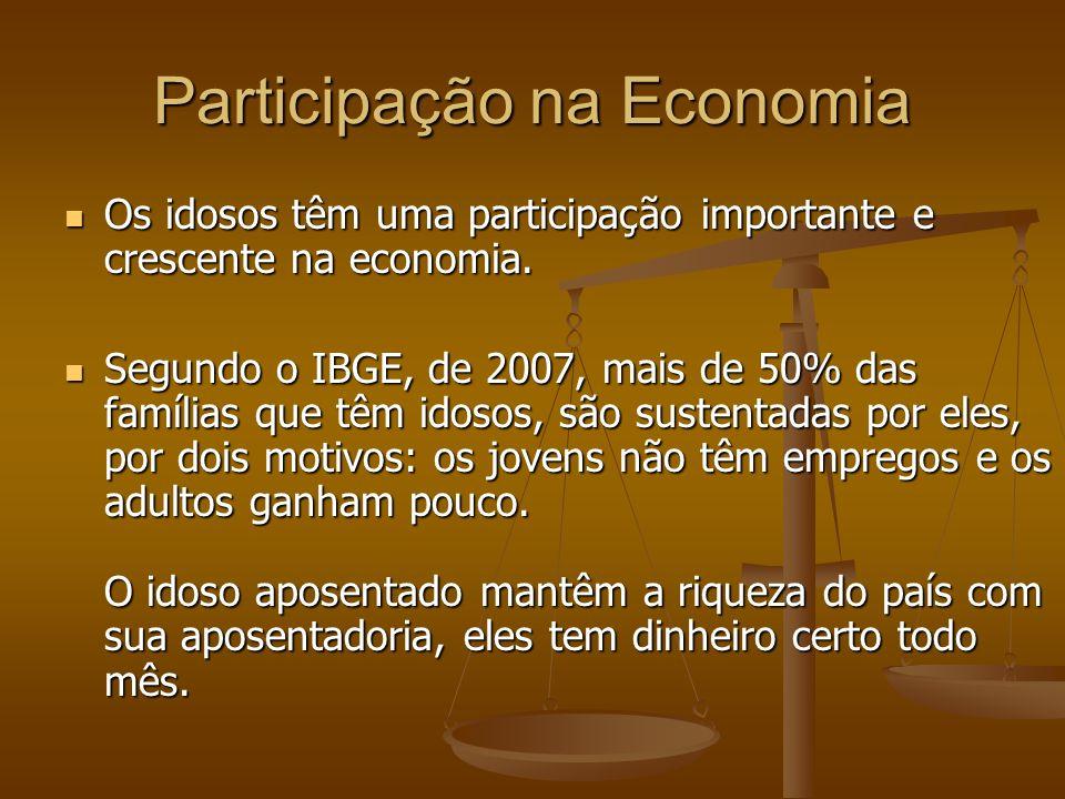 Participação na Economia Os idosos têm uma participação importante e crescente na economia. Os idosos têm uma participação importante e crescente na e