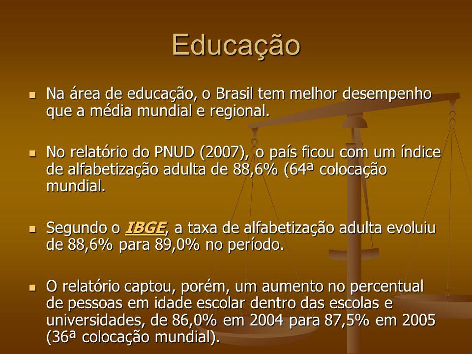 Educação Na área de educação, o Brasil tem melhor desempenho que a média mundial e regional. Na área de educação, o Brasil tem melhor desempenho que a