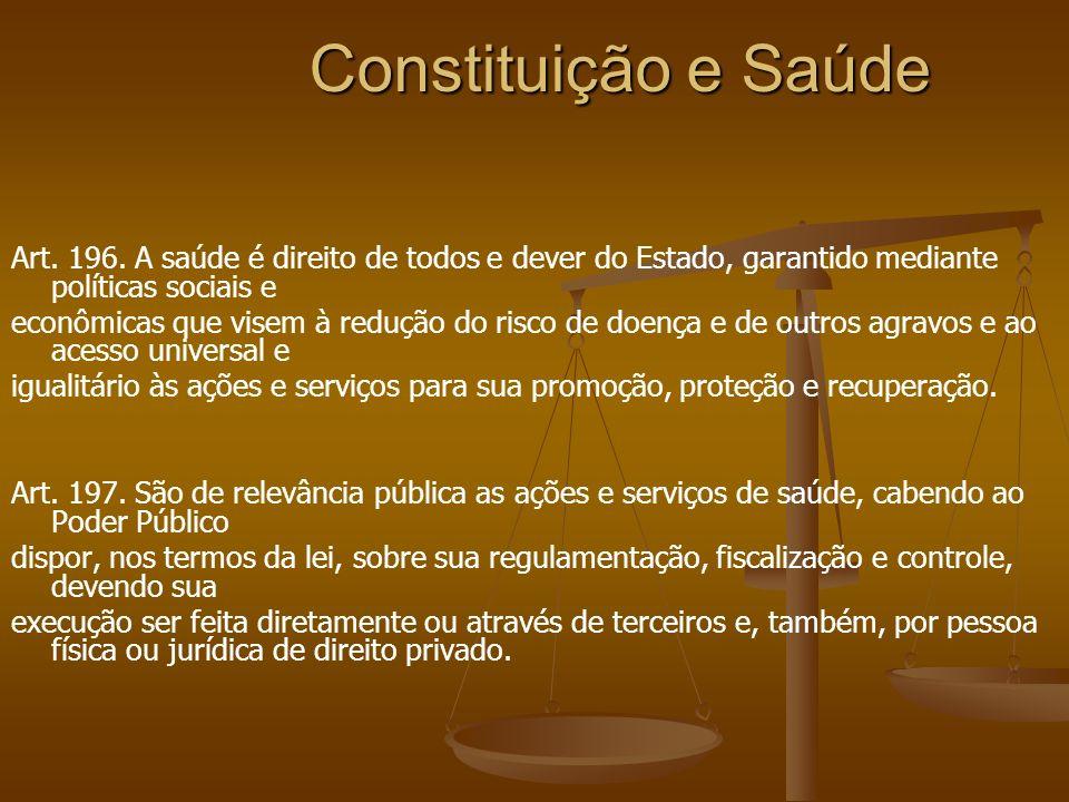 Constituição e Saúde Art. 196. A saúde é direito de todos e dever do Estado, garantido mediante políticas sociais e econômicas que visem à redução do