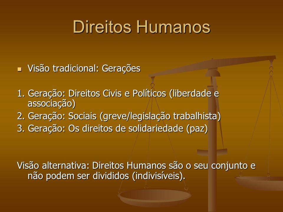 Direitos Humanos Visão tradicional: Gerações Visão tradicional: Gerações 1. Geração: Direitos Civis e Políticos (liberdade e associação) 2. Geração: S