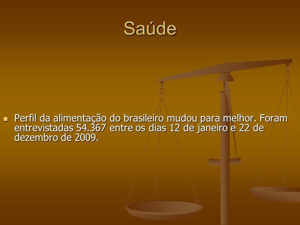 Saúde Perfil da alimentação do brasileiro mudou para melhor. Foram entrevistadas 54.367 entre os dias 12 de janeiro e 22 de dezembro de 2009. Perfil d