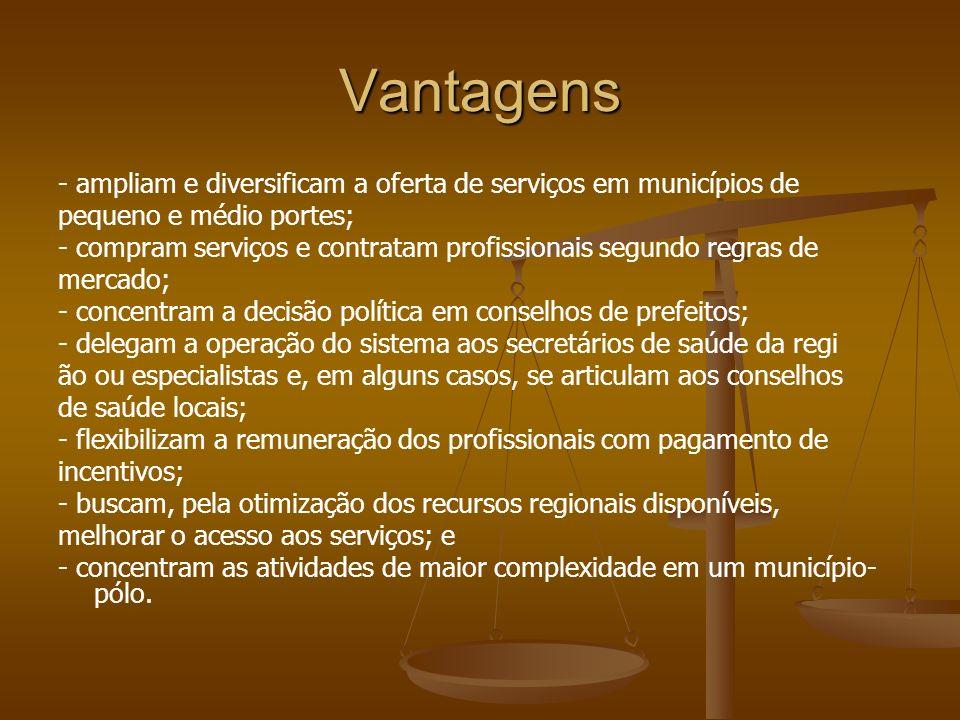 Vantagens - ampliam e diversificam a oferta de serviços em municípios de pequeno e médio portes; - compram serviços e contratam profissionais segundo