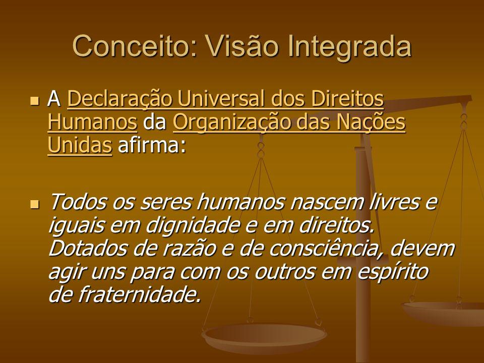 Conceito: Visão Integrada A Declaração Universal dos Direitos Humanos da Organização das Nações Unidas afirma: A Declaração Universal dos Direitos Hum