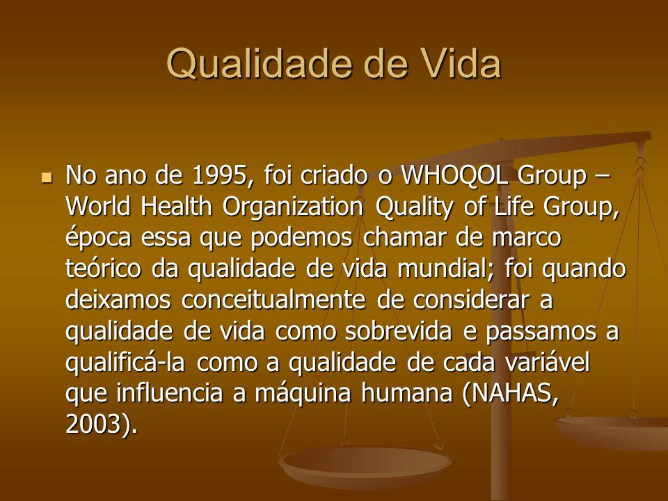 Qualidade de Vida No ano de 1995, foi criado o WHOQOL Group – World Health Organization Quality of Life Group, época essa que podemos chamar de marco