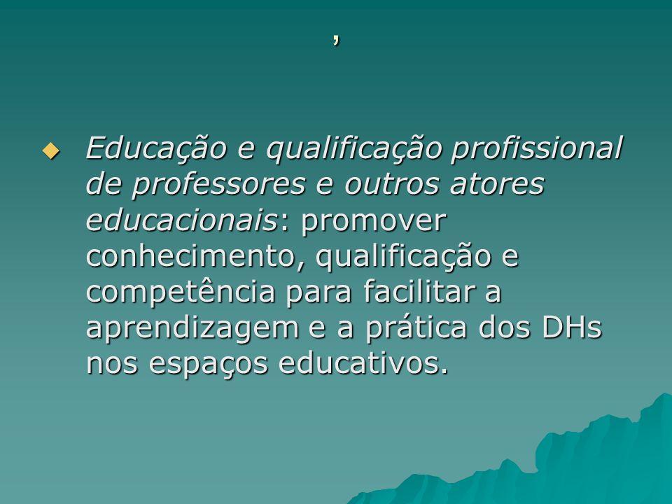 , Educação e qualificação profissional de professores e outros atores educacionais: promover conhecimento, qualificação e competência para facilitar a