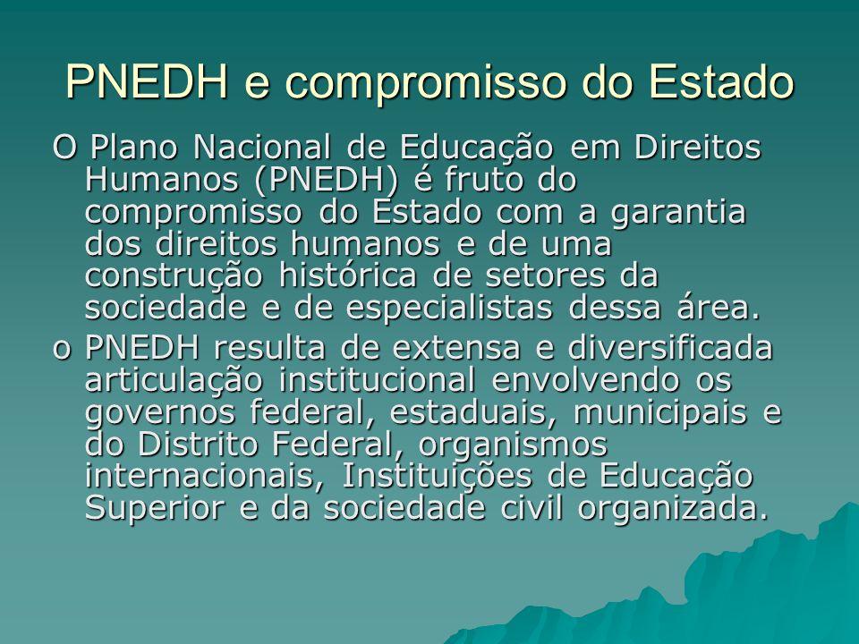 PNEDH e compromisso do Estado O Plano Nacional de Educação em Direitos Humanos (PNEDH) é fruto do compromisso do Estado com a garantia dos direitos hu