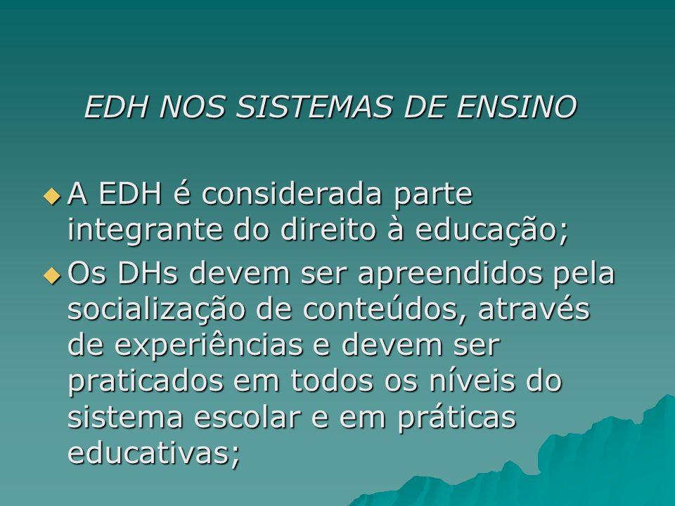EDH NOS SISTEMAS DE ENSINO EDH NOS SISTEMAS DE ENSINO A EDH é considerada parte integrante do direito à educação; A EDH é considerada parte integrante