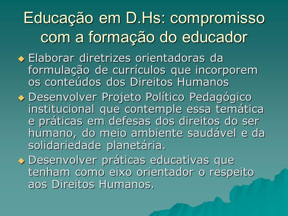 Educação em D.Hs: compromisso com a formação do educador Elaborar diretrizes orientadoras da formulação de currículos que incorporem os conteúdos dos