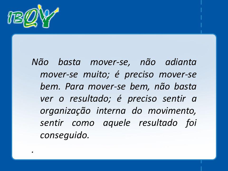 Não basta mover-se, não adianta mover-se muito; é preciso mover-se bem. Para mover-se bem, não basta ver o resultado; é preciso sentir a organização i