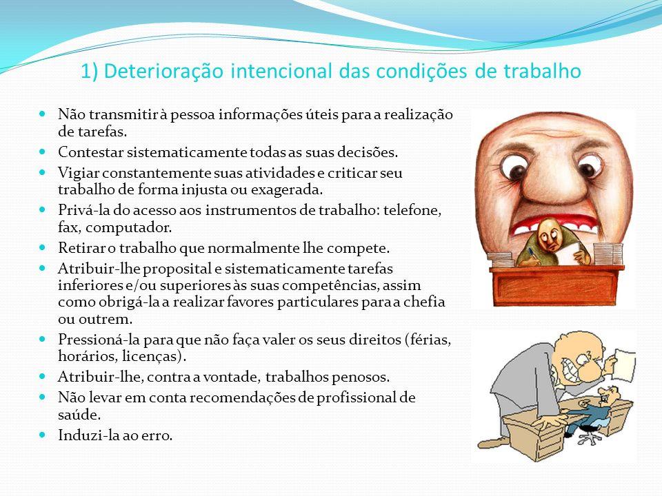 1) Deterioração intencional das condições de trabalho Não transmitir à pessoa informações úteis para a realização de tarefas. Contestar sistematicamen
