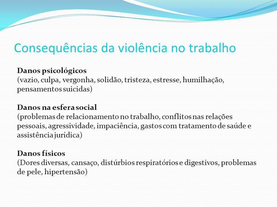 Danos psicológicos (vazio, culpa, vergonha, solidão, tristeza, estresse, humilhação, pensamentos suicidas) Danos na esfera social (problemas de relaci