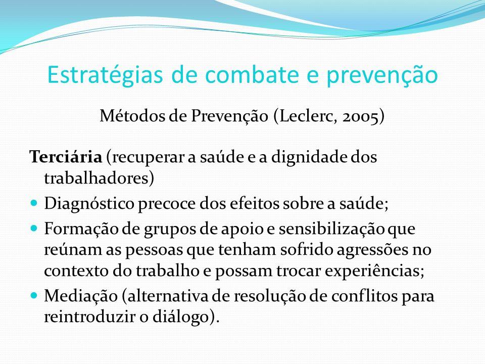 Métodos de Prevenção (Leclerc, 2005) Terciária (recuperar a saúde e a dignidade dos trabalhadores) Diagnóstico precoce dos efeitos sobre a saúde; Form