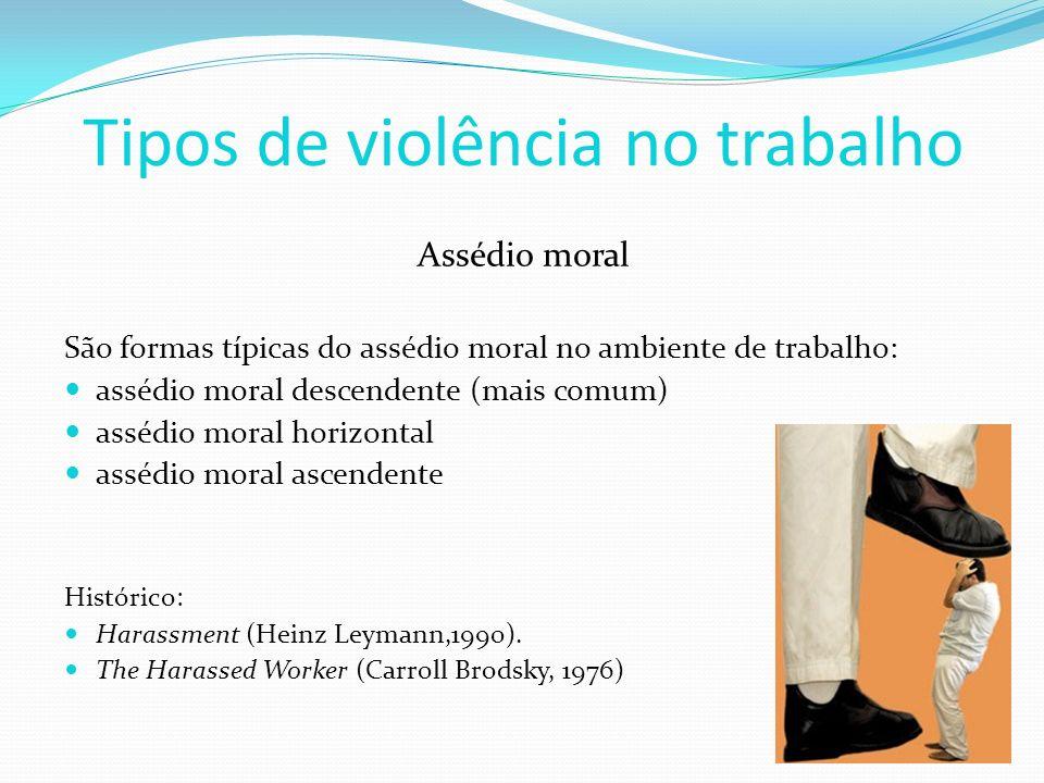 Tipos de violência no trabalho Assédio moral São formas típicas do assédio moral no ambiente de trabalho: assédio moral descendente (mais comum) asséd
