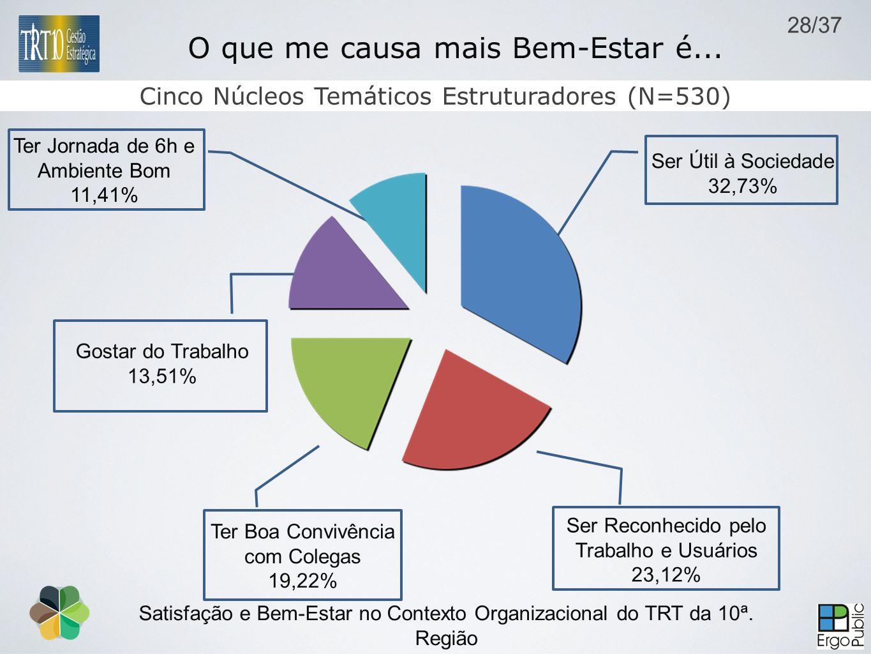 Satisfação e Bem-Estar no Contexto Organizacional do TRT da 10ª. Região Brasília-DF, outubro de 2009 Cinco Núcleos Temáticos Estruturadores (N=530) O