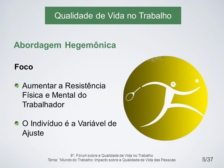 Qualidade de Vida no Trabalho Abordagem Hegemônica Foco Aumentar a Resistência Física e Mental do Trabalhador O Indivíduo é a Variável de Ajuste 5/37 8º.