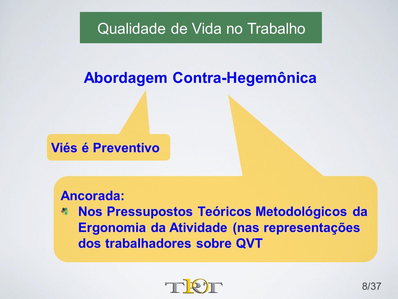 Qualidade de Vida no Trabalho 8/37 Abordagem Contra-Hegemônica Viés é Preventivo Ancorada: Nos Pressupostos Teóricos Metodológicos da Ergonomia da Ati
