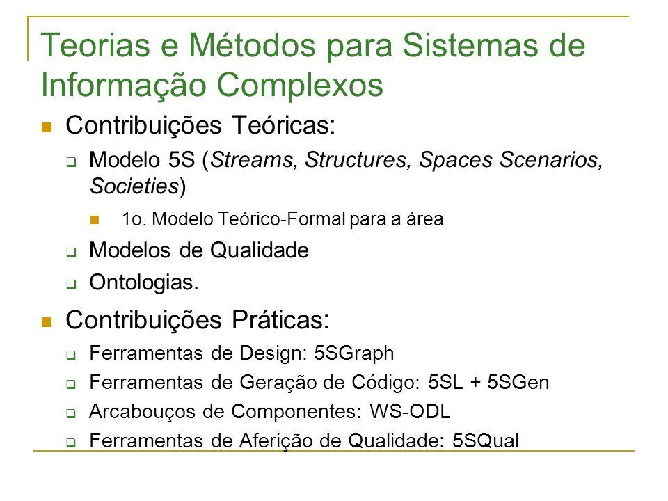Teorias e Métodos para Sistemas de Informação Complexos Contribuições Teóricas: Modelo 5S (Streams, Structures, Spaces Scenarios, Societies) 1o. Model