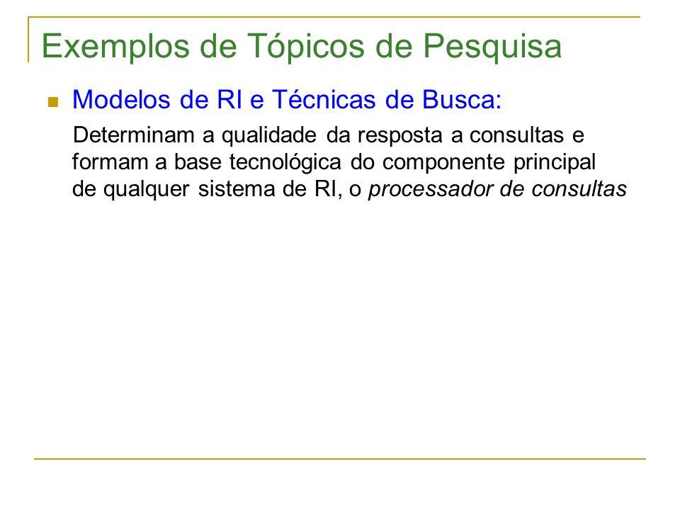 Exemplos de Tópicos de Pesquisa Modelos de RI e Técnicas de Busca: Determinam a qualidade da resposta a consultas e formam a base tecnológica do compo