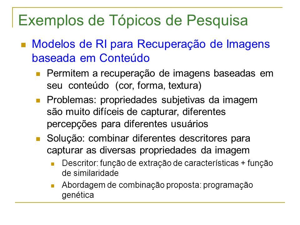 Exemplos de Tópicos de Pesquisa Modelos de RI para Recuperação de Imagens baseada em Conteúdo Permitem a recuperação de imagens baseadas em seu conteú
