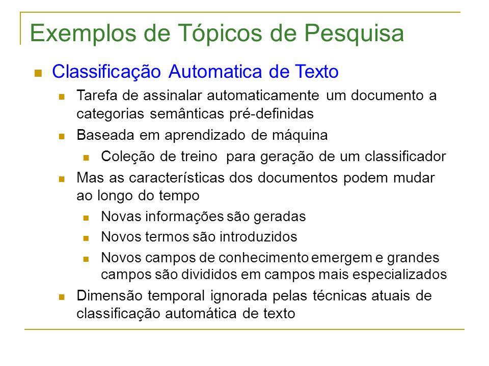 Exemplos de Tópicos de Pesquisa Classificação Automatica de Texto Tarefa de assinalar automaticamente um documento a categorias semânticas pré-definid