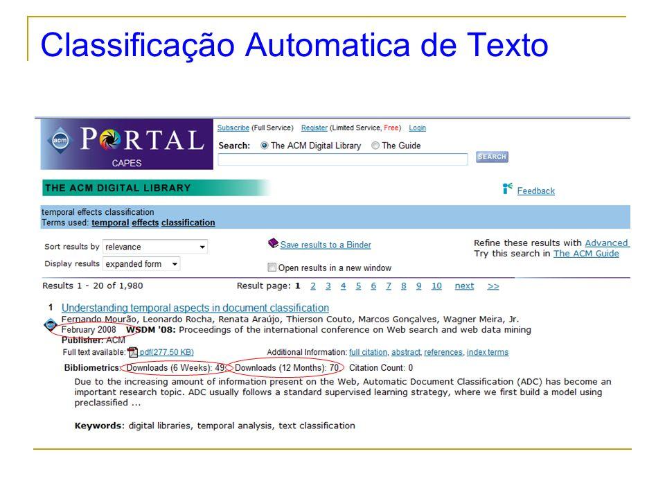 Classificação Automatica de Texto