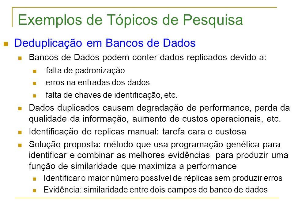 Exemplos de Tópicos de Pesquisa Deduplicação em Bancos de Dados Bancos de Dados podem conter dados replicados devido a: falta de padronização erros na