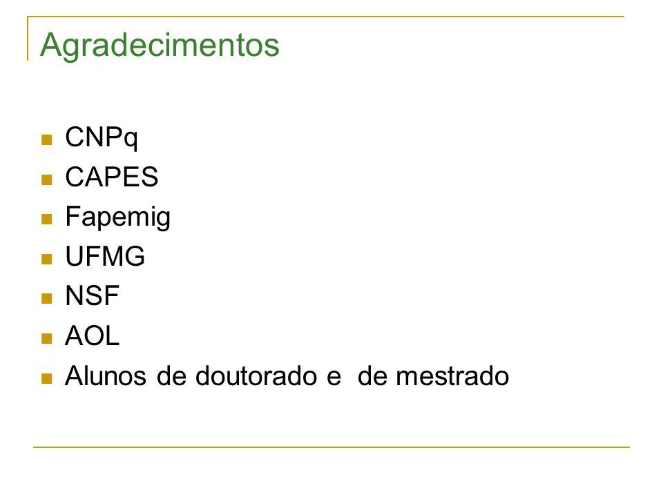Agradecimentos CNPq CAPES Fapemig UFMG NSF AOL Alunos de doutorado e de mestrado