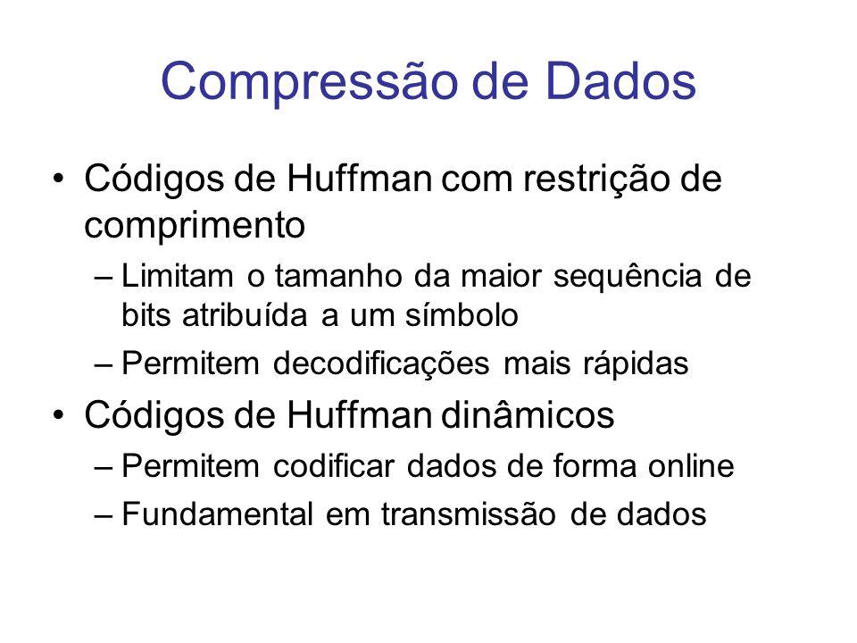 Compressão de Dados Códigos de Huffman com restrição de comprimento –Limitam o tamanho da maior sequência de bits atribuída a um símbolo –Permitem dec