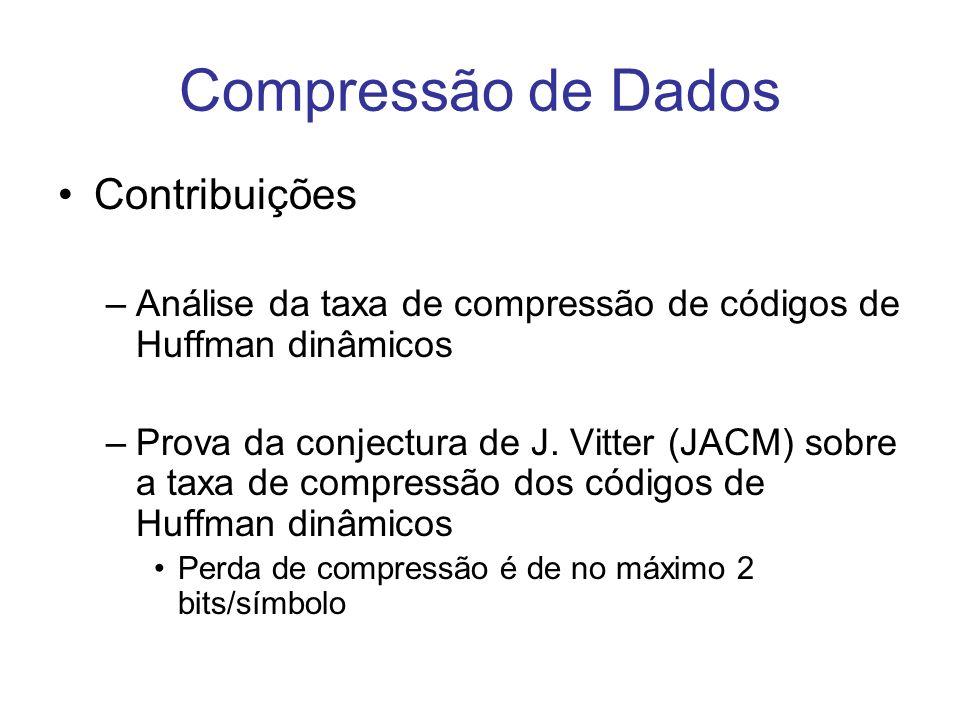Compressão de Dados Contribuições –Análise da taxa de compressão de códigos de Huffman dinâmicos –Prova da conjectura de J. Vitter (JACM) sobre a taxa