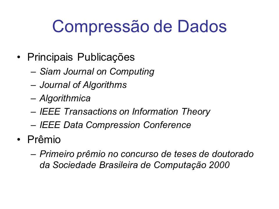Compressão de Dados Principais Publicações –Siam Journal on Computing –Journal of Algorithms –Algorithmica –IEEE Transactions on Information Theory –I