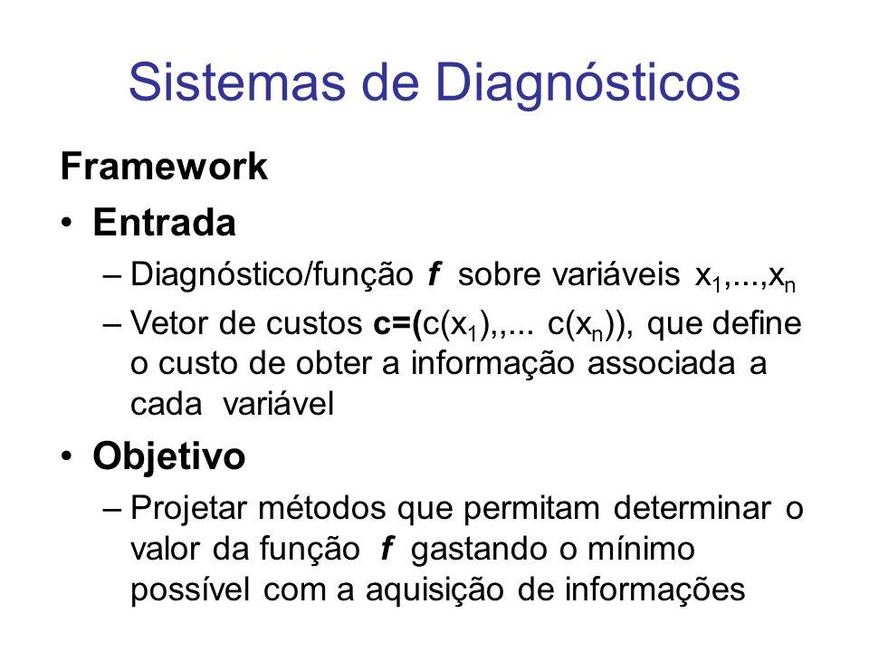 Framework Entrada –Diagnóstico/função f sobre variáveis x 1,...,x n –Vetor de custos c=(c(x 1 ),,... c(x n )), que define o custo de obter a informaçã