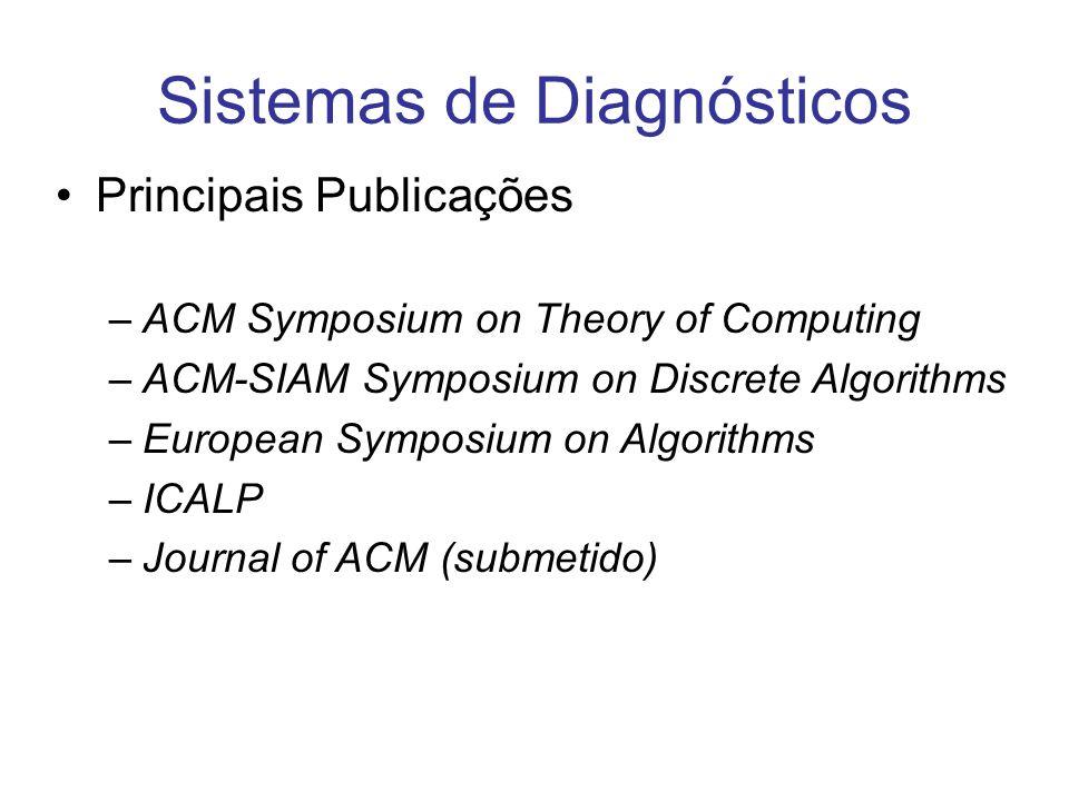 Sistemas de Diagnósticos Principais Publicações –ACM Symposium on Theory of Computing –ACM-SIAM Symposium on Discrete Algorithms –European Symposium o