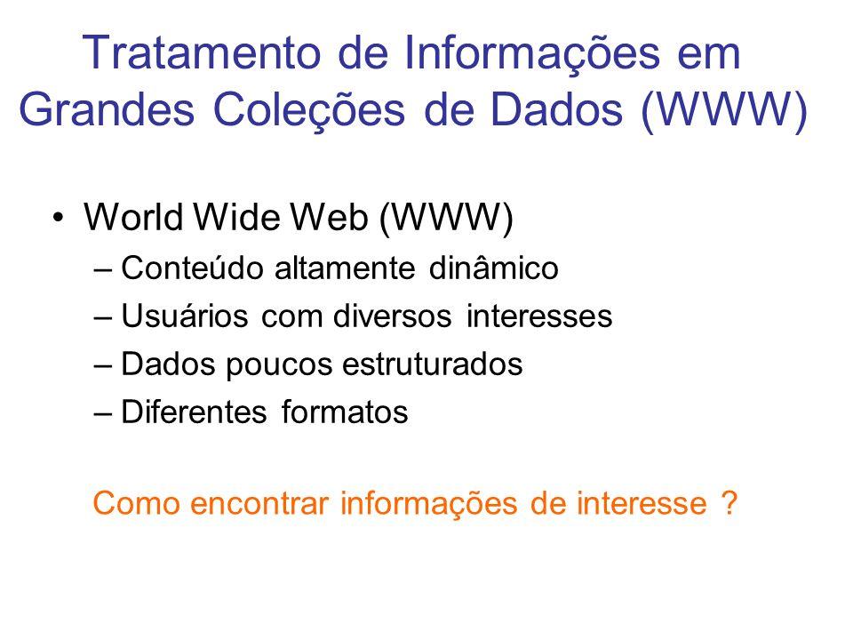 Tratamento de Informações em Grandes Coleções de Dados (WWW) World Wide Web (WWW) –Conteúdo altamente dinâmico –Usuários com diversos interesses –Dado