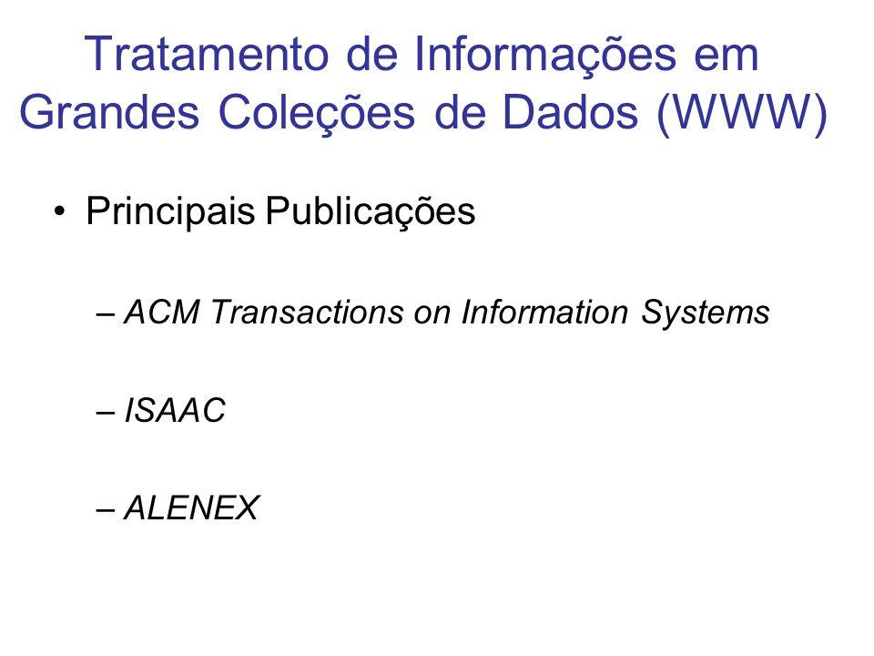 Tratamento de Informações em Grandes Coleções de Dados (WWW) Principais Publicações –ACM Transactions on Information Systems –ISAAC –ALENEX