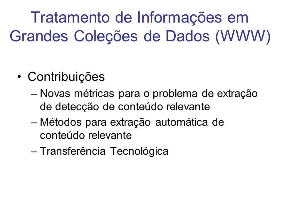 Contribuições –Novas métricas para o problema de extração de detecção de conteúdo relevante –Métodos para extração automática de conteúdo relevante –T