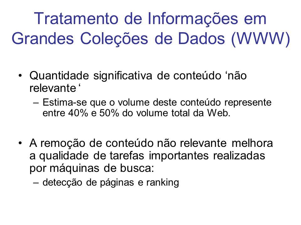 Quantidade significativa de conteúdo não relevante –Estima-se que o volume deste conteúdo represente entre 40% e 50% do volume total da Web. A remoção