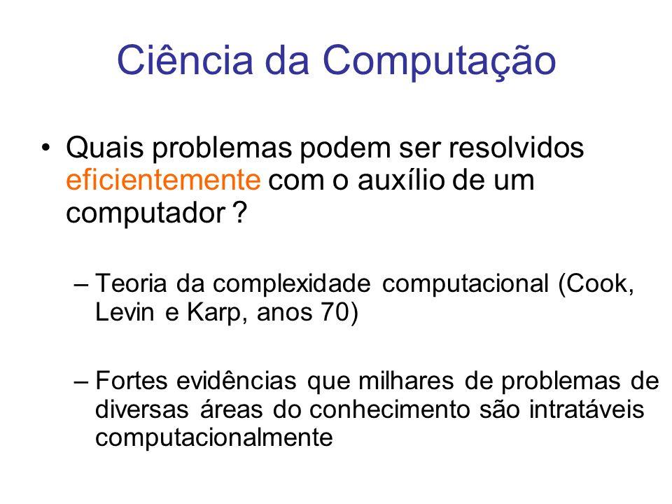 Quais problemas podem ser resolvidos eficientemente com o auxílio de um computador ? –Teoria da complexidade computacional (Cook, Levin e Karp, anos 7