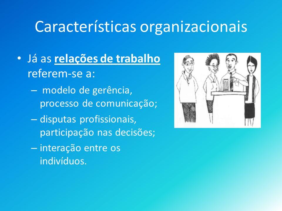 Características organizacionais Já as relações de trabalho referem-se a: – modelo de gerência, processo de comunicação; – disputas profissionais, participação nas decisões; – interação entre os indivíduos.