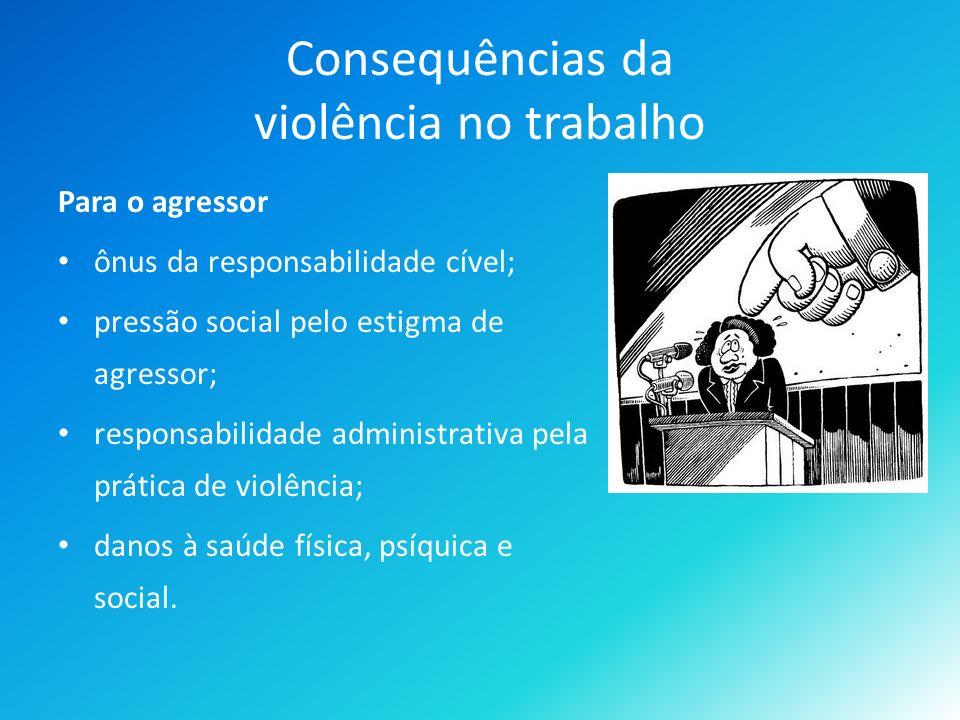 Consequências da violência no trabalho Para o agressor ônus da responsabilidade cível; pressão social pelo estigma de agressor; responsabilidade administrativa pela prática de violência; danos à saúde física, psíquica e social.