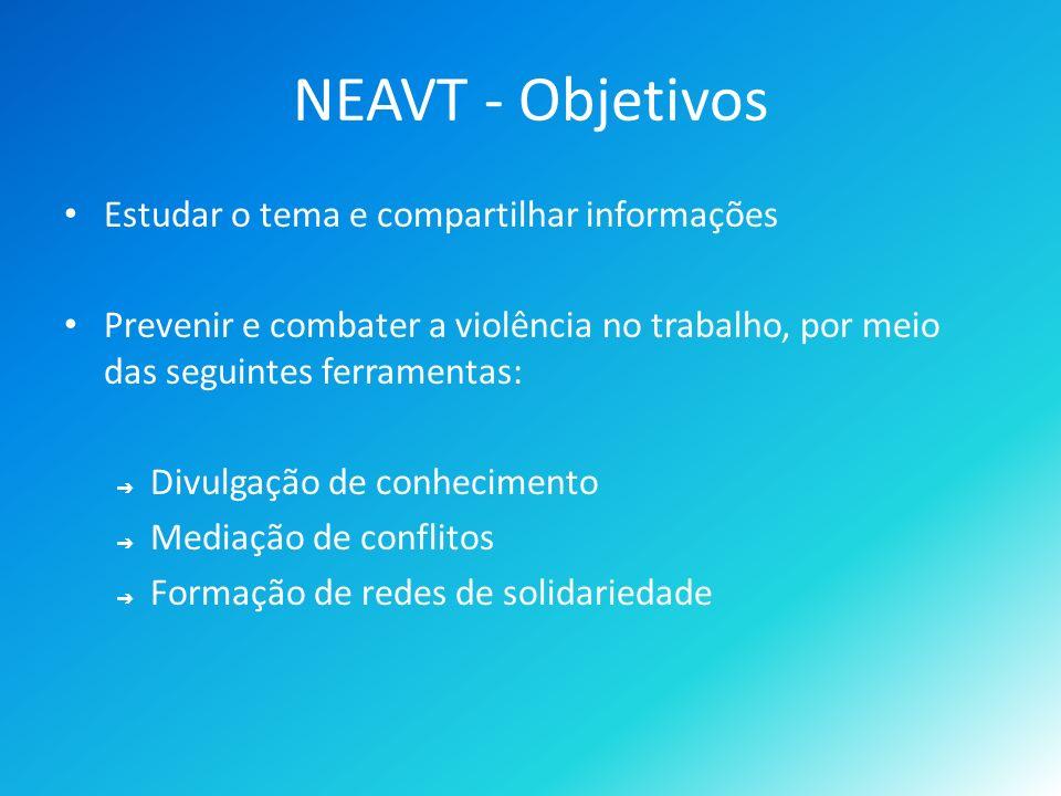 NEAVT - Objetivos Estudar o tema e compartilhar informações Prevenir e combater a violência no trabalho, por meio das seguintes ferramentas: Divulgação de conhecimento Mediação de conflitos Formação de redes de solidariedade