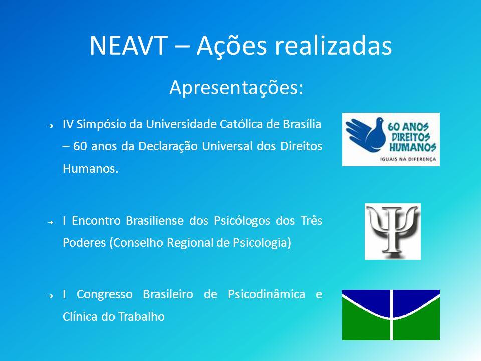 NEAVT – Ações realizadas Apresentações: IV Simpósio da Universidade Católica de Brasília – 60 anos da Declaração Universal dos Direitos Humanos.