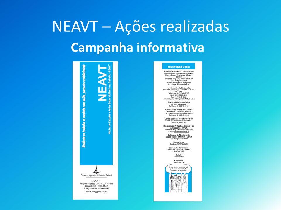 NEAVT – Ações realizadas Campanha informativa