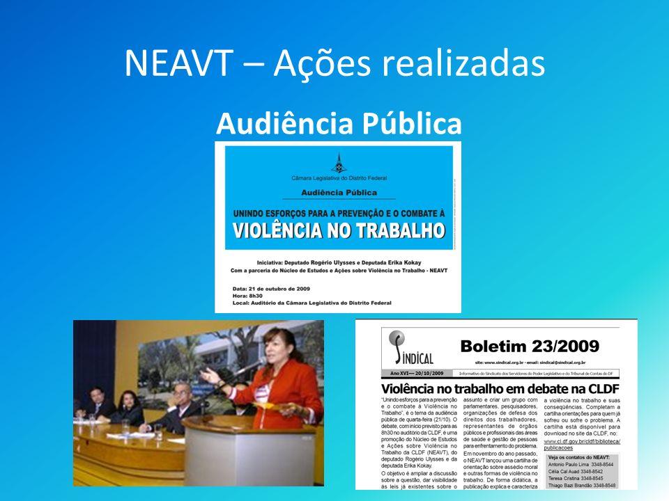 NEAVT – Ações realizadas Audiência Pública