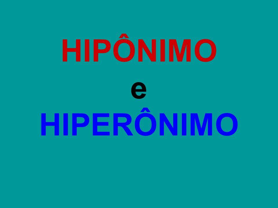 HIPÔNIMO e HIPERÔNIMO