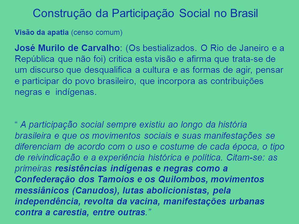 Visão da apatia (censo comum) José Murilo de Carvalho: (Os bestializados. O Rio de Janeiro e a República que não foi) critica esta visão e afirma que