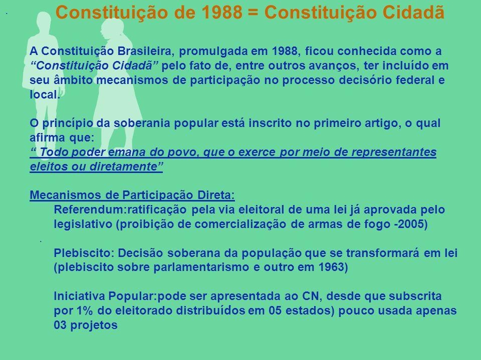 ... A Constituição Brasileira, promulgada em 1988, ficou conhecida como a Constituição Cidadã pelo fato de, entre outros avanços, ter incluído em seu