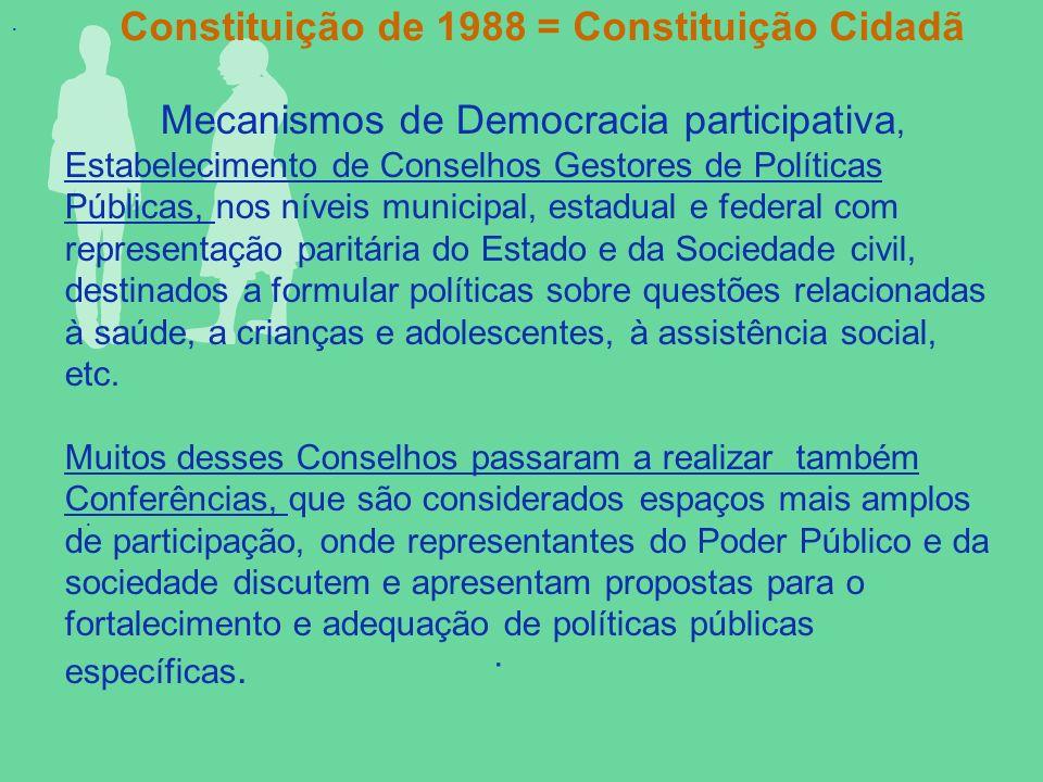 ... Mecanismos de Democracia participativa, Estabelecimento de Conselhos Gestores de Políticas Públicas, nos níveis municipal, estadual e federal com