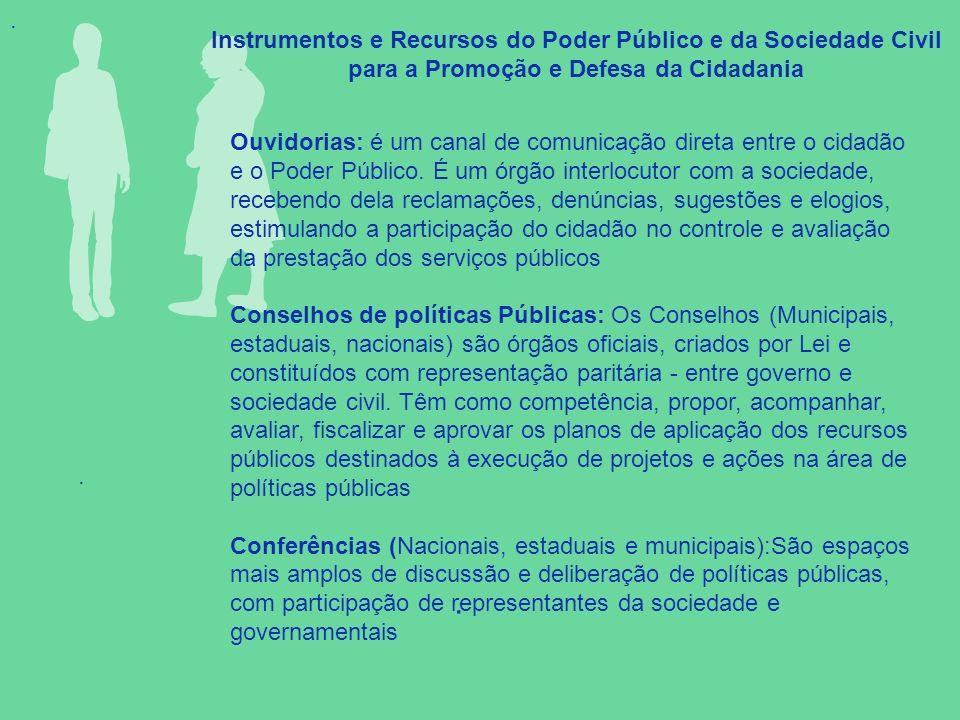 . Instrumentos e Recursos do Poder Público e da Sociedade Civil para a Promoção e Defesa da Cidadania.. Ouvidorias: é um canal de comunicação direta e